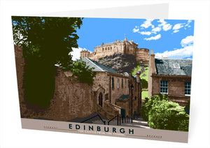 Edinburgh: the Castle from The Vennel – card
