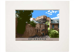 Edinburgh: the Castle from The Vennel – small mounted print