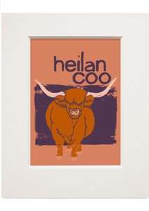 Heilan coo – small mounted print - Indy Prints by Stewart Bremner