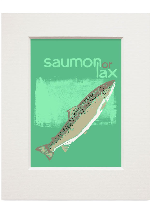 Saumon or lax – small mounted print - Indy Prints by Stewart Bremner