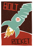 Bolt ya rocket – poster - red - Indy Prints by Stewart Bremner