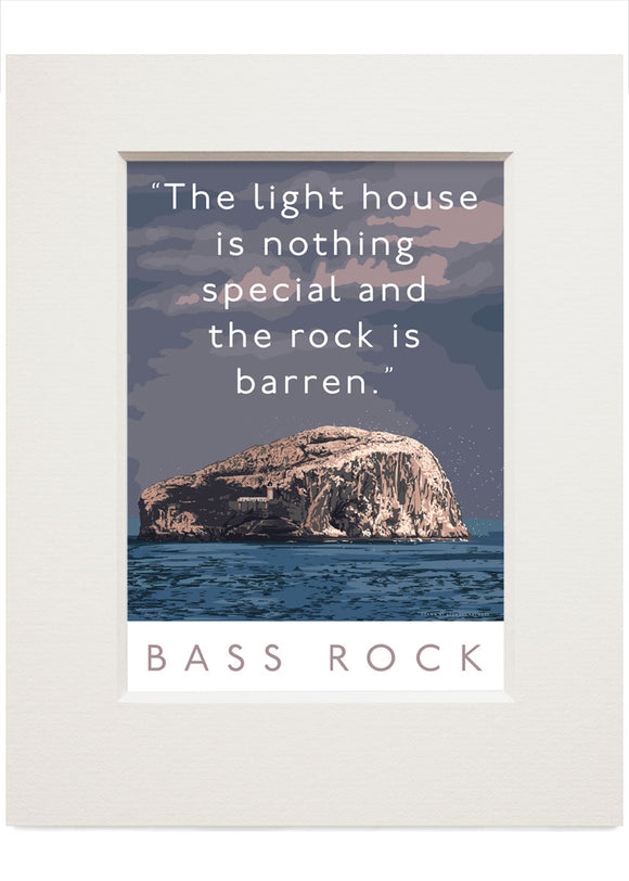 The Bass Rock is barren – small mounted print