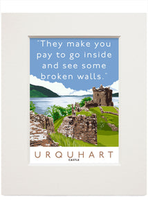 The broken walls of Urquhart Castle – small mounted print