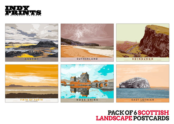 Pack of 6 Scottish landscape postcards – artistic set A - - Indy Prints by Stewart Bremner
