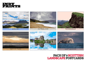 Pack of 6 Scottish landscape postcards – natural set A - - Indy Prints by Stewart Bremner