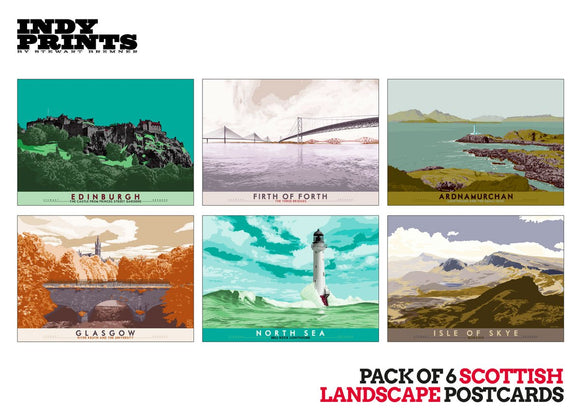 Pack of 6 Scottish landscape postcards – artistic set B - - Indy Prints by Stewart Bremner