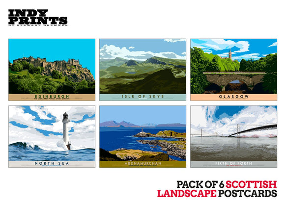 Pack of 6 Scottish landscape postcards – natural set B - - Indy Prints by Stewart Bremner