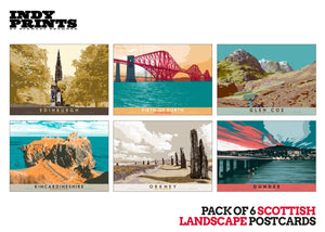 Pack of 6 Scottish landscape postcards – artistic set C - - Indy Prints by Stewart Bremner