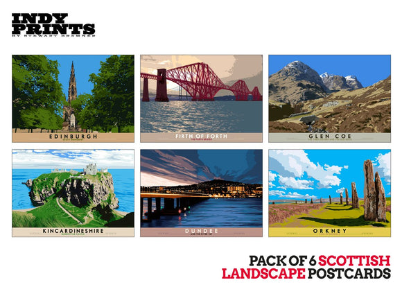 Pack of 6 Scottish landscape postcards – natural set C - - Indy Prints by Stewart Bremner