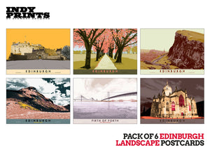 Pack of 6 Edinburgh landscape postcards – artistic set D - - Indy Prints by Stewart Bremner