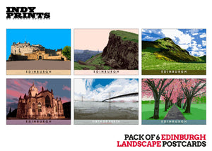 Pack of 6 Edinburgh landscape postcards – natural set D - - Indy Prints by Stewart Bremner