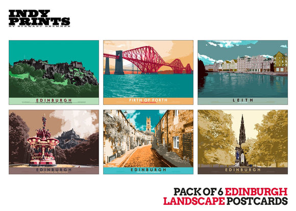 Pack of 6 Edinburgh landscape postcards – artistic set E - - Indy Prints by Stewart Bremner