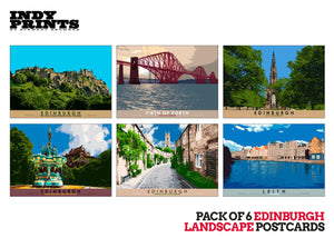 Pack of 6 Edinburgh landscape postcards – natural set E - - Indy Prints by Stewart Bremner