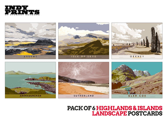 Pack of 6 Highlands & Islands landscape postcards – artistic set F - - Indy Prints by Stewart Bremner