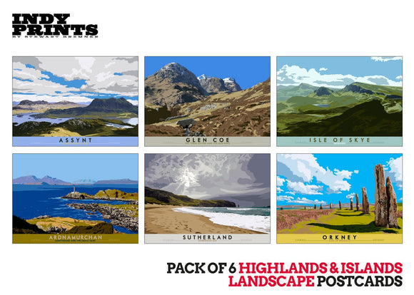 Pack of 6 Highlands & Islands landscape postcards – natural set F - - Indy Prints by Stewart Bremner
