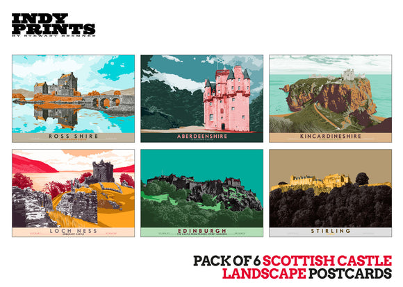 Pack of 6 Scottish castle landscape postcards – artistic set G - - Indy Prints by Stewart Bremner