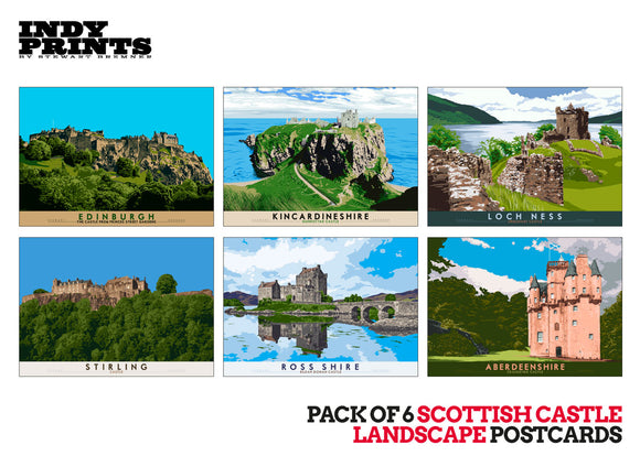 Pack of 6 Scottish castle landscape postcards – natural set G - - Indy Prints by Stewart Bremner