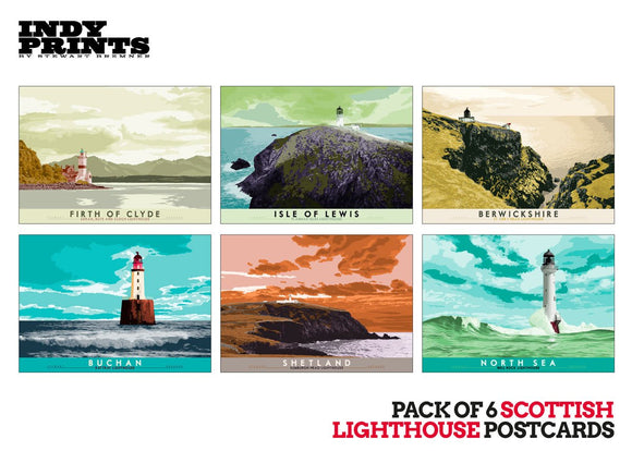 Pack of 6 Scottish lighthouse postcards – artistic set H - - Indy Prints by Stewart Bremner