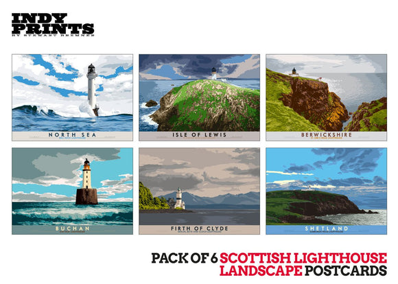 Pack of 6 Scottish lighthouse postcards – natural set H - - Indy Prints by Stewart Bremner