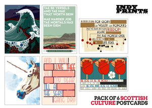 Pack of 6 Scottish culture postcards - Indy Prints by Stewart Bremner