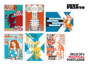 Pack of 6 political postcards – set A - Indy Prints by Stewart Bremner