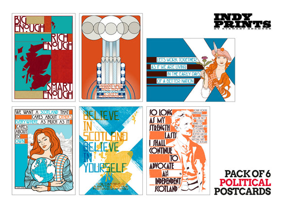 Pack of 6 political postcards – set A