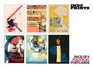Pack of 6 political postcards