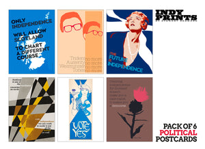 Pack of 6 political postcards – set C - Indy Prints by Stewart Bremner