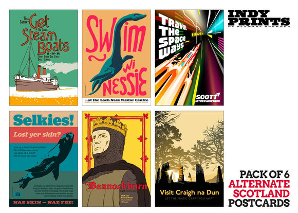 Pack of 6 Alternate Scotland postcards - Indy Prints by Stewart Bremner
