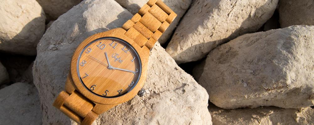 Junglist Network's Jnglst Bamboo Watch on Rocks