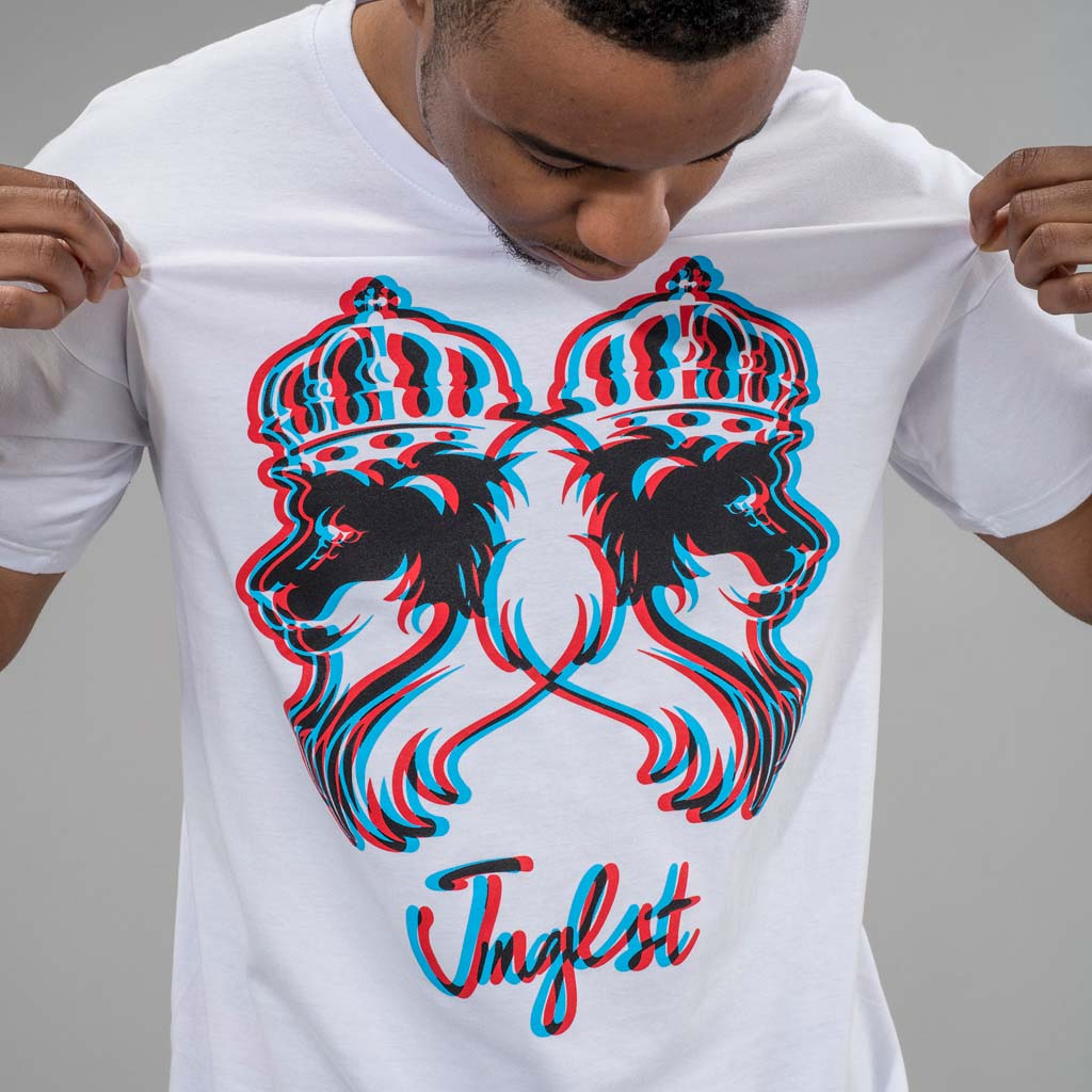 White Jnglst 3d Lion Drum and Bass T-Shirt