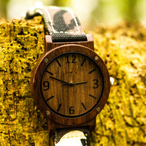 Bamboo Watch Face with Camo Strap by Jnglst Clothing