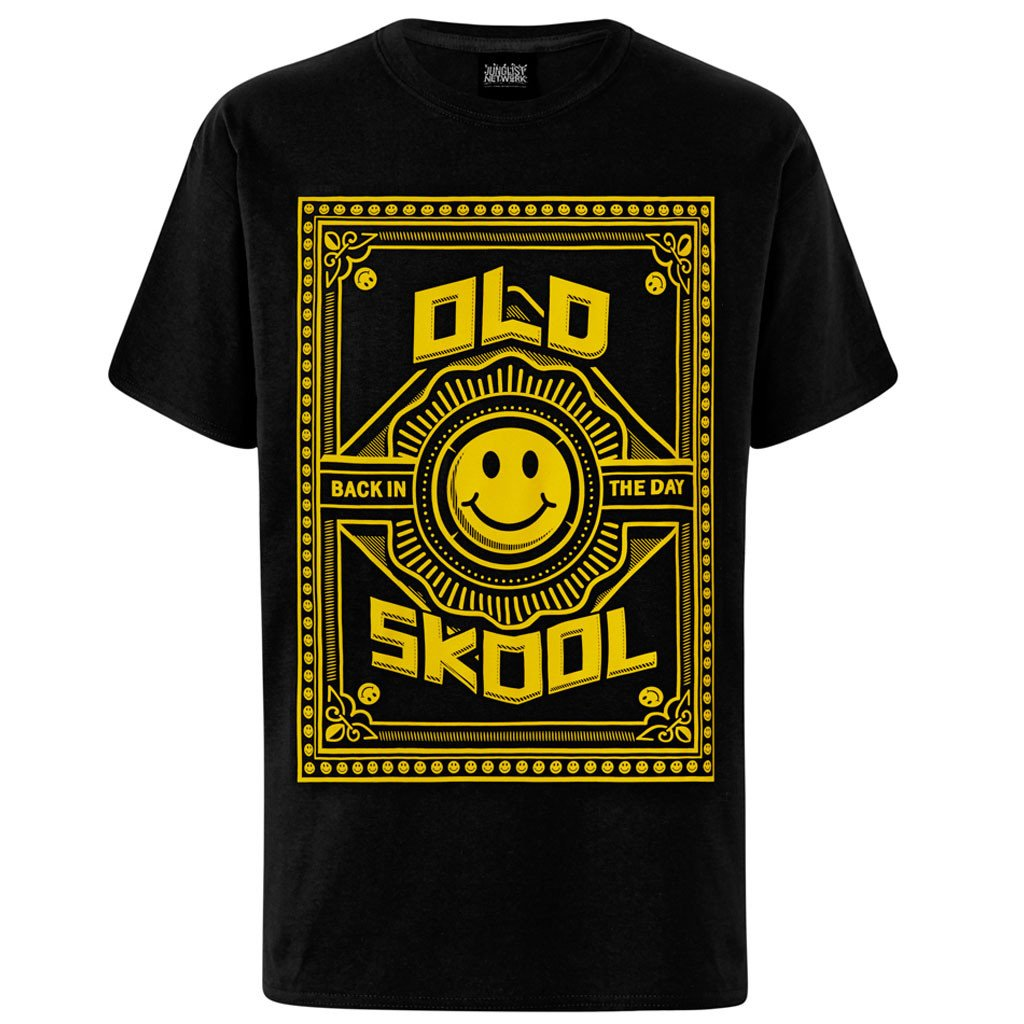 Design t shirt back - Old Skool Back In The Day Black T Shirt With Yellow Print