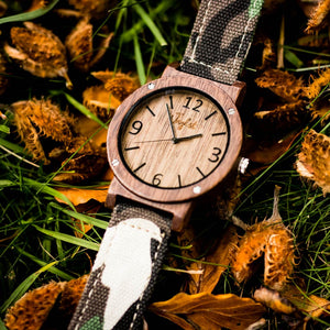Bamboo Watch with Camo Strap