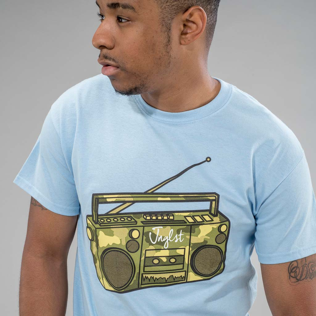 Light Blue Ghetto Blaster T-Shirt on Model