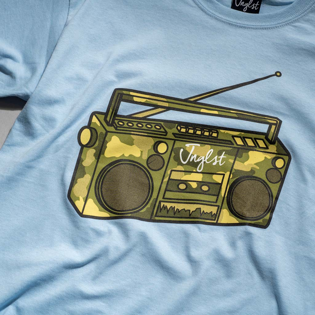 Light Blue Junglist Ghetto Blaster Camo T-Shirt