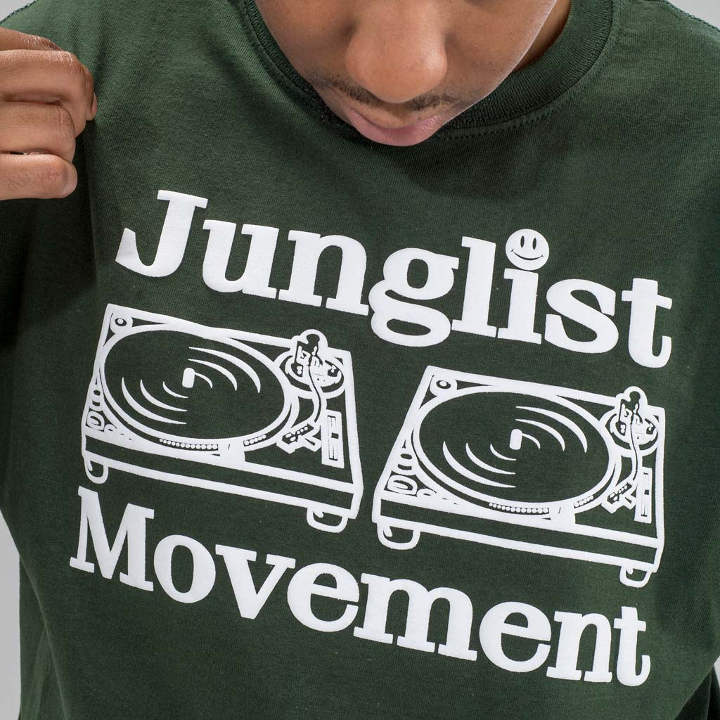 Junglist Movement Dark Green T-Shirt Close up