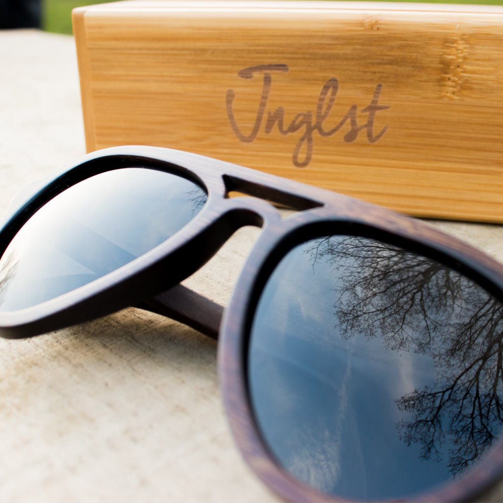 Dark Bamboo Sunglasses with Bamboo Case