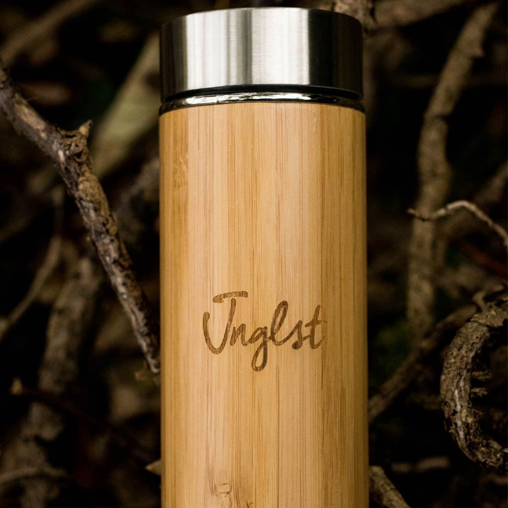 Bamboo Flask for hot or cold drinks, engraved with Jnglst logo
