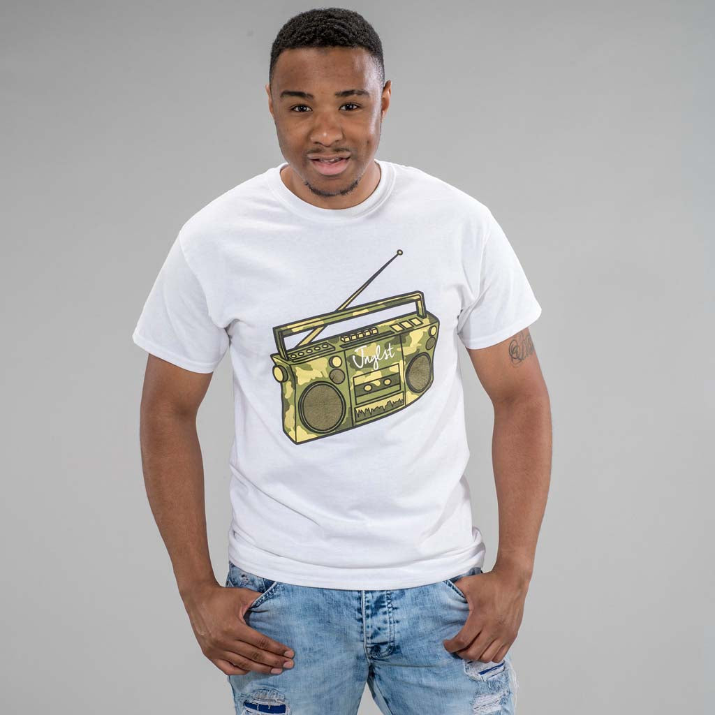 White Ghetto Blaster T-Shirt from front