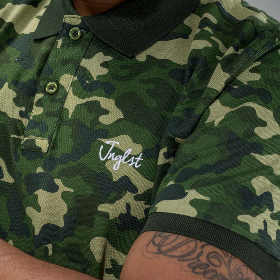 Green Camo Junglist Polo Shirt from front