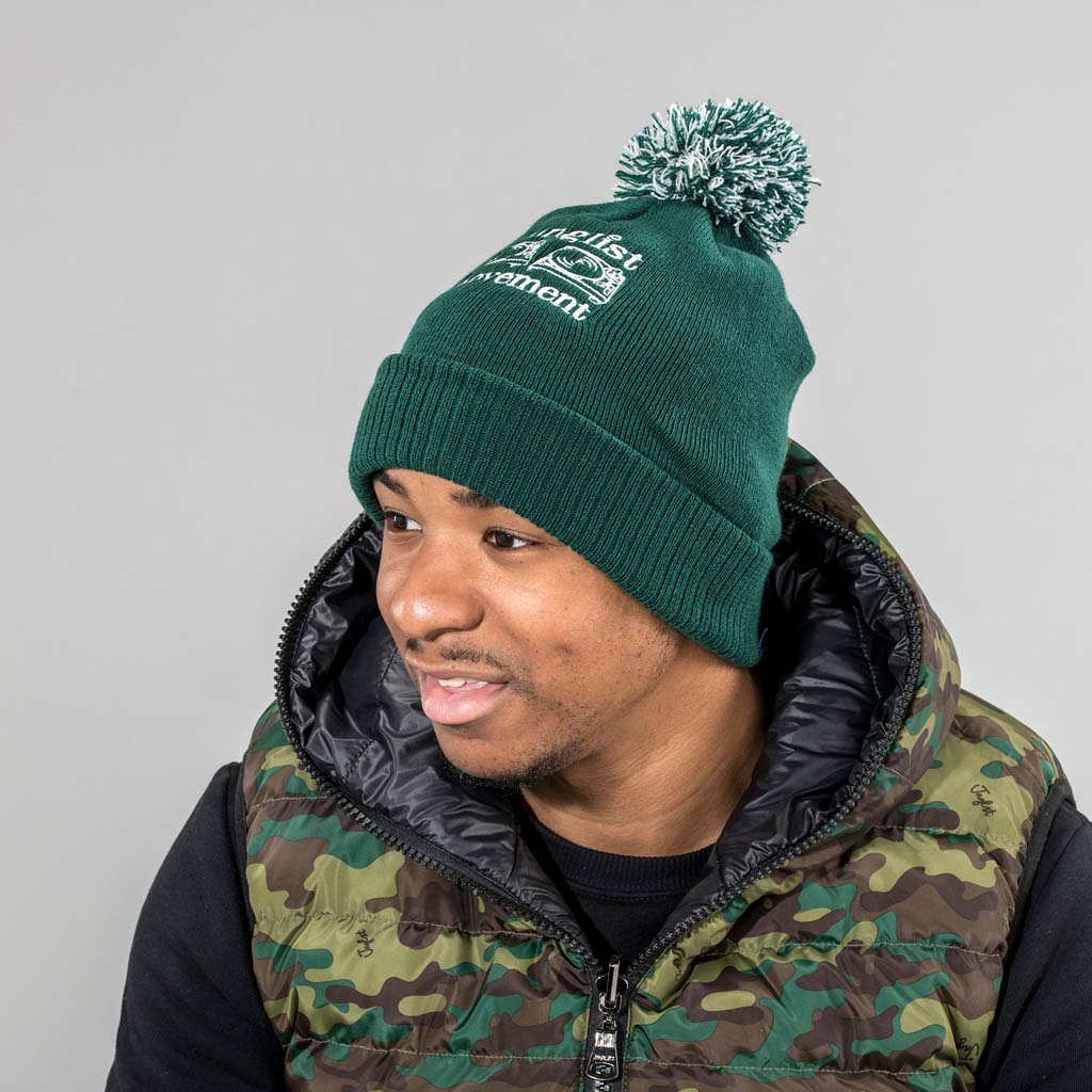 Bottle Green Junglist Movment Beanie from Aerosoul