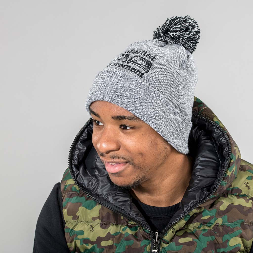 Junglist Movement Grey Pom Pom Beanie