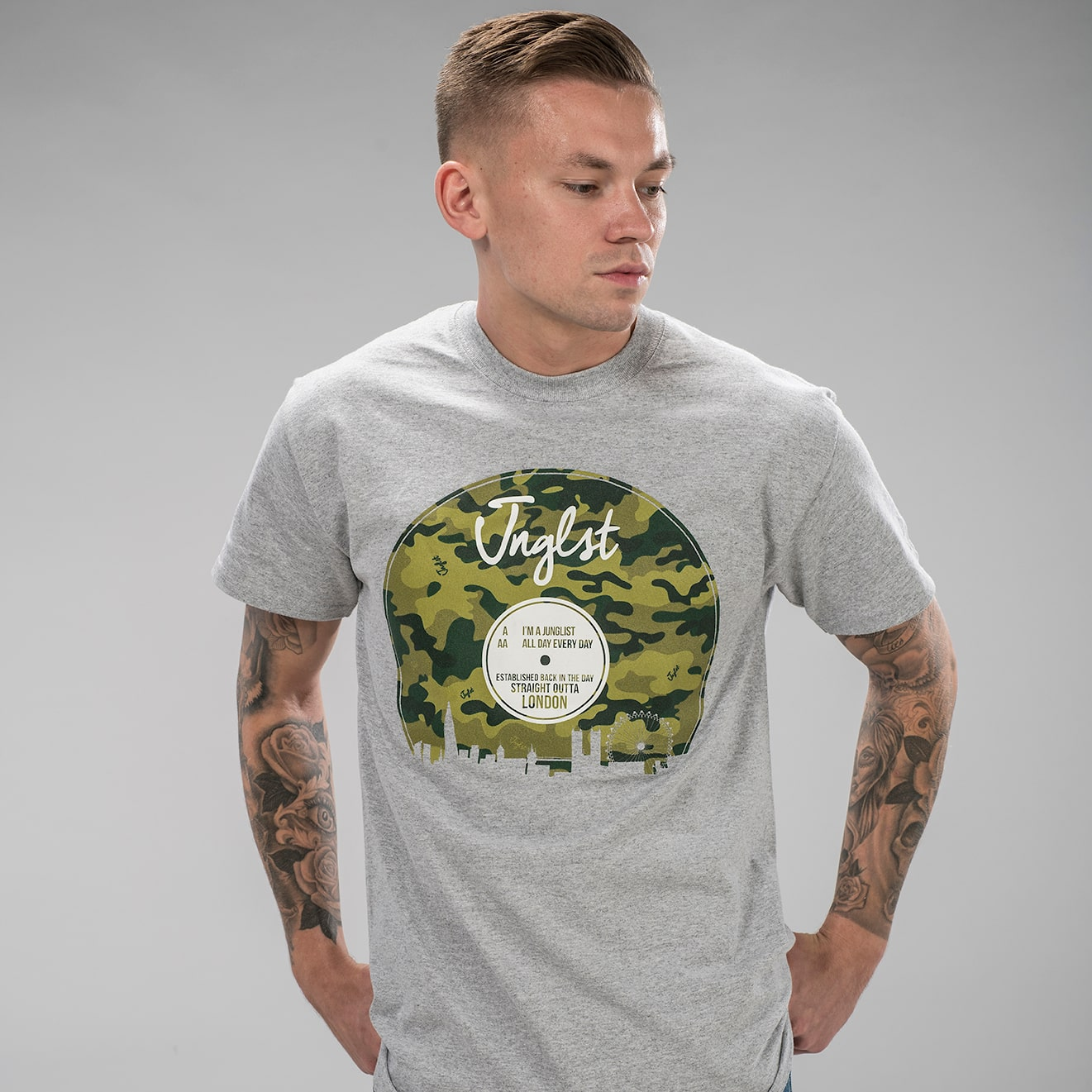 Grey T-Shirt with Camo VInyl design