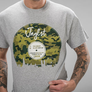 Camo Green design on Grey T-Shirt for Junglists