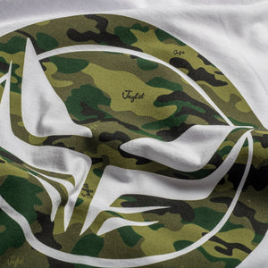 Dread Recordings White T-Shirt Camo Pattern Close up