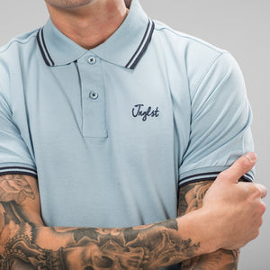 Sky Blue Jnglst Polo Shirt with Navy Detailing