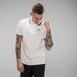 White Polo Shirt for Junglist with black detail