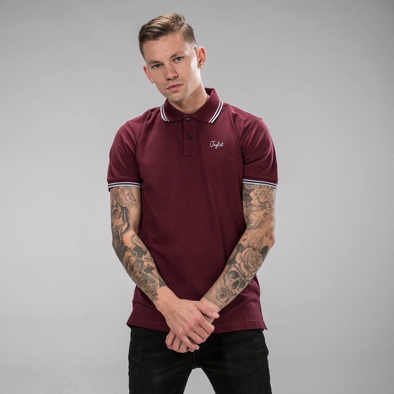 Front view of Burgundy Junglist Polo Shirt