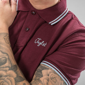 Burgundy Jnglst Polo Shirt with Sky Blue Detailing